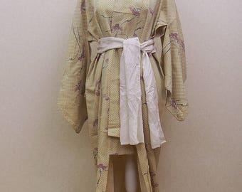 Japanese antique kimono robe / not has liner