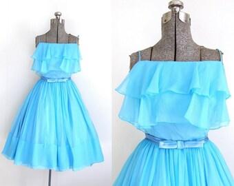 1950's Sundress, Blue Party Dress