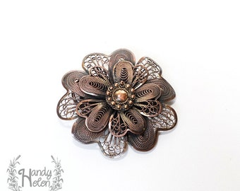 Handmade Copper Multifunction Flower Shape Brooch Women Fashion Accessories