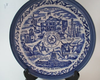 State of Texas the Lone Star State Blue Collectible Vintage Souvenir Plate 1980's