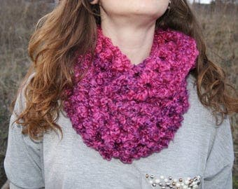Chunky Pink and Purple Infinity Scarf