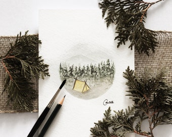 Camping, watercolor, 6/8 inch circle, made by hand.