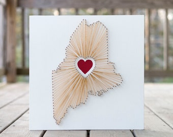Heart of Maine String Art - White, Gold and Red