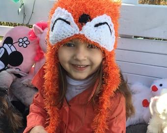 Crochet Fox Knitted Hats Kids hat Knitted kids hat Fox hats for kids Kids hat