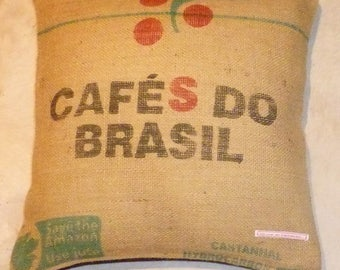 "Coffee bag cover, cushion ""cafés do Brasil"", 50 x 50 cm"