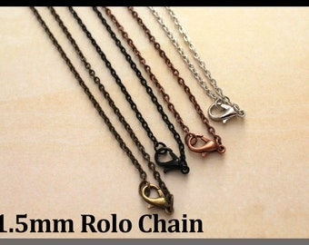 "One 18"" Chain with lobster clasp-Vintage Rolo Chain. Silver, Black, Antique Copper, Antique Bronze, 18 inch Necklaces"