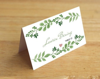 Rustic Place Card template-Printable Flat & Folded place card-Leaves Green Wreath PDF-table wedding placecards-Download Instantly| VRD144LHG