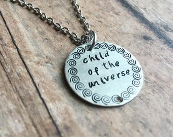 Hand stamped necklace Hand Stamped Jewelry Spiritual Gift gift Zen necklace jewelry Yoga necklace Quote jewelry Boho Jewelry