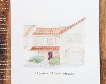 Custom house portrait, house illustration, personalized home portrait, home drawing, custom-made house picture