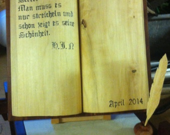 Wood book with lettering