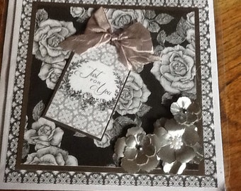 Handmade card in black snd silver