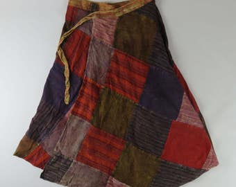 Ladies Nepalese all season free size boho hippie gypsy festival patchwork wrap around Skirt