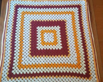 Retro style crocheted blanket/throw 27.5 inch square