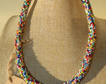 colorful embroidered Pearl Necklace