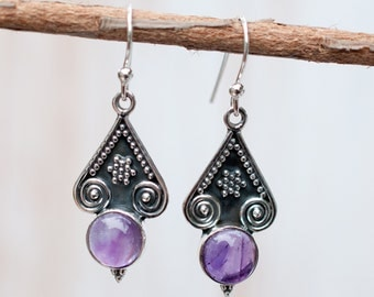 Amethyst Earrings ~ Sterling Silver 925 ~ February Birthstone ~Gemstone ~ Dangle~Handmade ~Jewelry ~ Gift For Her ~Purple ~ Maresia ME002