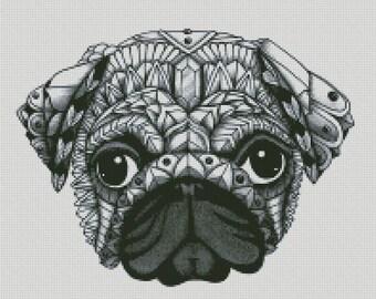 Cross Stitch Pattern Pug Dog PDF