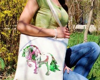 Horse tote bag -  Horse shoulder bag - Fashion canvas bag - Colorful printed market bag - Gift Idea