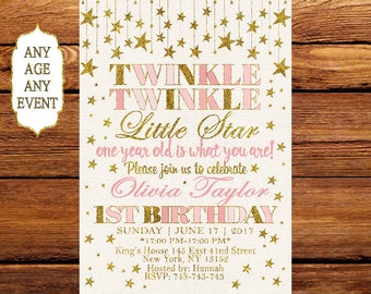 Twinkle Twinkle Little Star Birthday Invitation,Printable Birthday Invitation,First Birthday, 1st Birthday Invitations, Any Age 146