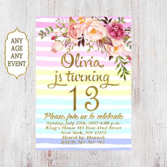 floral geburtstag einladung 13. geburtstag einladungen mädchen, Einladungsentwurf