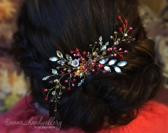 Red Gold Silver Bridal Headpiece Hair Comb, Prom Wedding Hair Accessory, Rhinestone , Wedding Hairpiece, Bohemian headpiece, Gold, Crystals