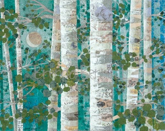 Moonlit Aspen - Gallery Wrapped Canvas Print of an Original Mixed Media Paper Collage by Brenda Bennett Art