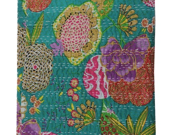 Sangrahan Handmade Indian Quilt Vintage Tropican fruit print Kantha spread Throw Cotton Blanket Twin Gudri Quilt-2969