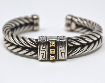 Vintage Two Tone 18k Yellow Gold & Sterling Silver Cable Cuff Bracelet - Greek Key - Stud - Braided Rope - Designer Style - 503903942