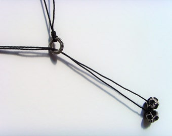 Black Silver sautoir necklace.