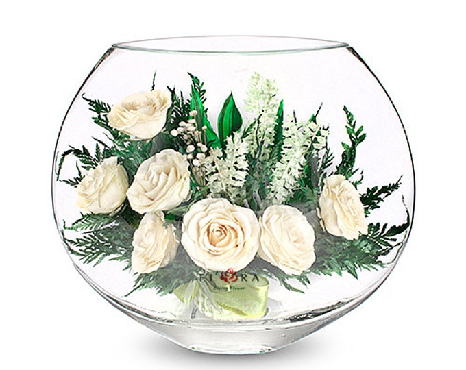 Ivory roses the vase is a small flat round