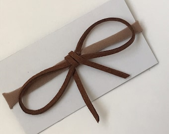 Brown Suede Cord Bow