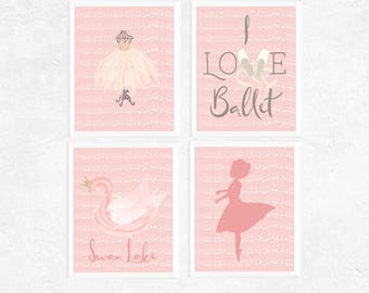 Ballet Art | Ballet Art Prints | 4 Set | Pink Art Printables | Girl's Bedroom Decor | Dance Printable | Ballerina Gifts