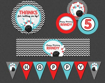 Retro Bowling Mini Birthday Printable Party Pack