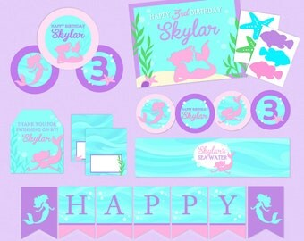 Sweet Mermaid Mega Birthday Printable Party Pack