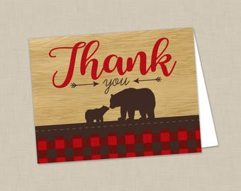 Plaid Mama Bear Baby Shower Folded Thank You Note Card - INSTANT DOWNLOAD - Flannel Woodsy Northwoods Lumberjack Inspired