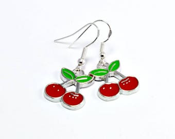 Rockabilly Cherry Earrings Kitsch 1950s Retro Jewellery