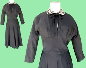 Vintage 1940's 1950's Original Reich Dress - Beaded Collar