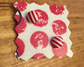 Red and white striped post earrings