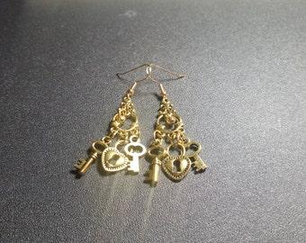 Golden Lock and Key Chandelier Earrings