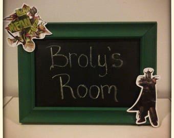 TMNT framed chalkboard, Framed chalkboard, Chalkboard frame, Wood frame,