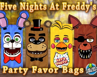 Five Nights at Freddy's Party Favor Bags!  Perfect for Birthday Parties Favors Goodie Goody Loot Treat Gift  Printable