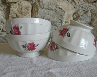 Set of coffee bowls with pink roses, French cafe au lait bowls