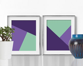 Colorful Wall Art Geometric Art Digital Download Colorful Artwork Purple and Green Artwork Affordable Wall Art Cheap Wall Art Bedroom Prints