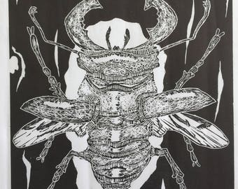 Stag Beetle Relief Print