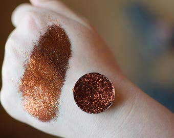 HOWDY: Copper/Brown Pressed Glitter Eyeshadow Cruelty Free 26 mm magnetic pan