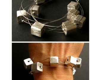 Bracelet, bracelet, matte silver cubes, silver clasp, sterling silver 925, handmade, new