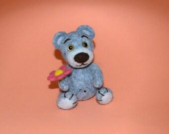 Teddy Bear with a flower, wool toy
