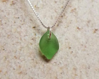 Dainty Lake Erie Beach Glass Leaf Necklace- FREE SHIPPING!