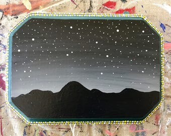 Original Starry Sky Mountain Silhouette Painting, Acrylic on Wood with Decorative Frame Edge (Rectangular, Large, Green)