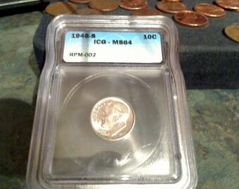 1948-s icg ms64 error silver dime s/s