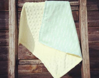 Small pale yellow and green minky blanket